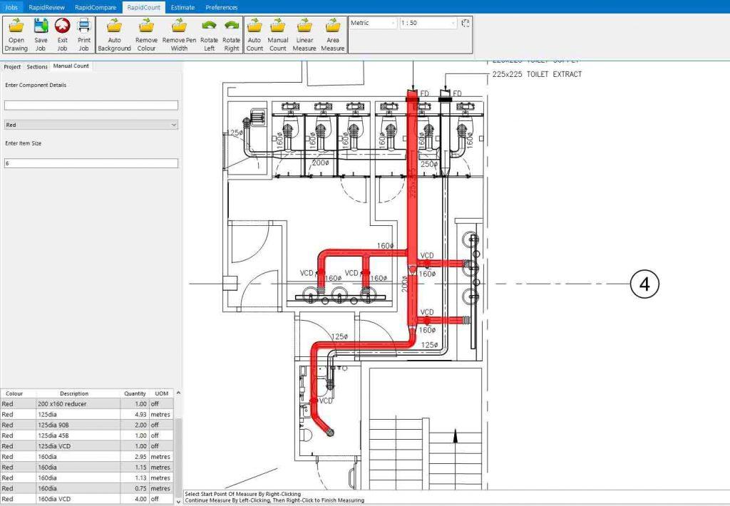 RapidBid ductwork estimating software in action