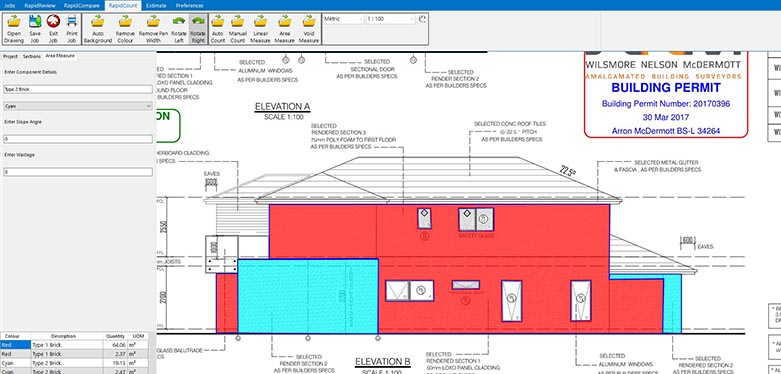 Wall areas have been measured and calculated almost instantly using RapidBid's masonry estimating software