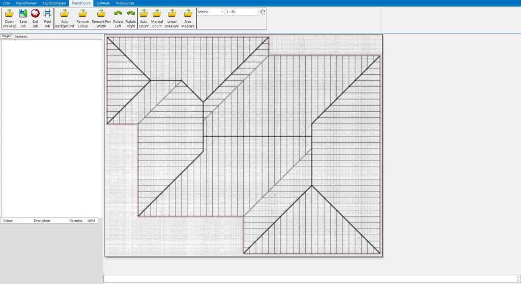 Roof layout before RapidBid's roofing software