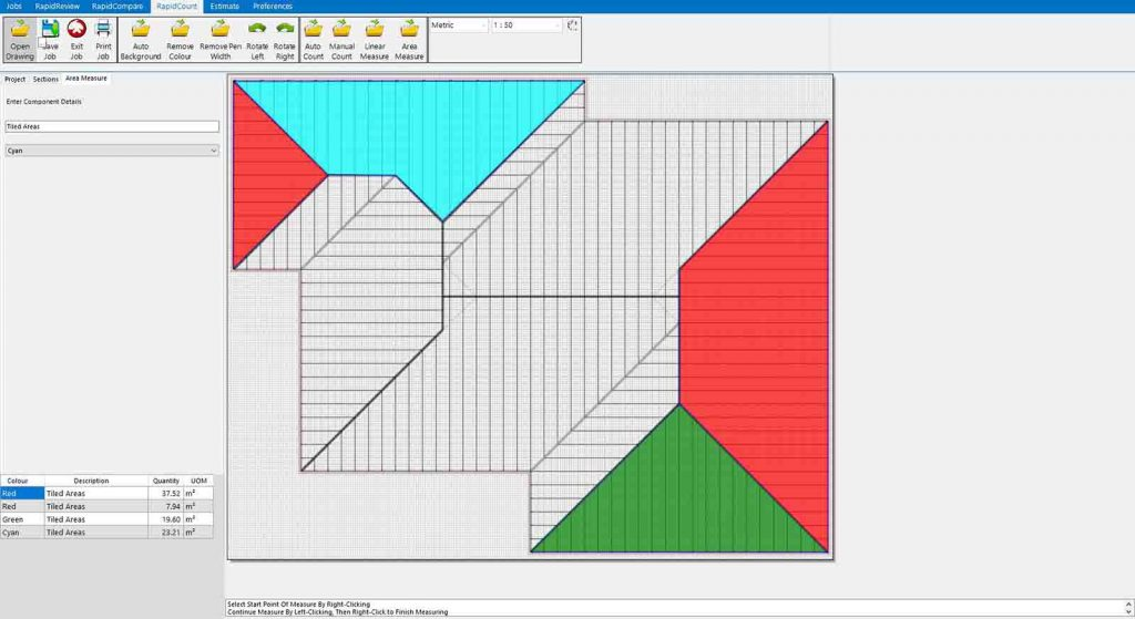 RapidBid roofing estimate software in action – free to try in the USA