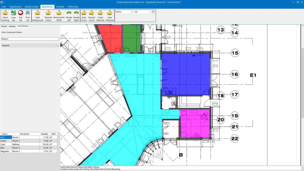 Get flooring estimates by area and linear measure using RapidBid's flooring estimating software free download