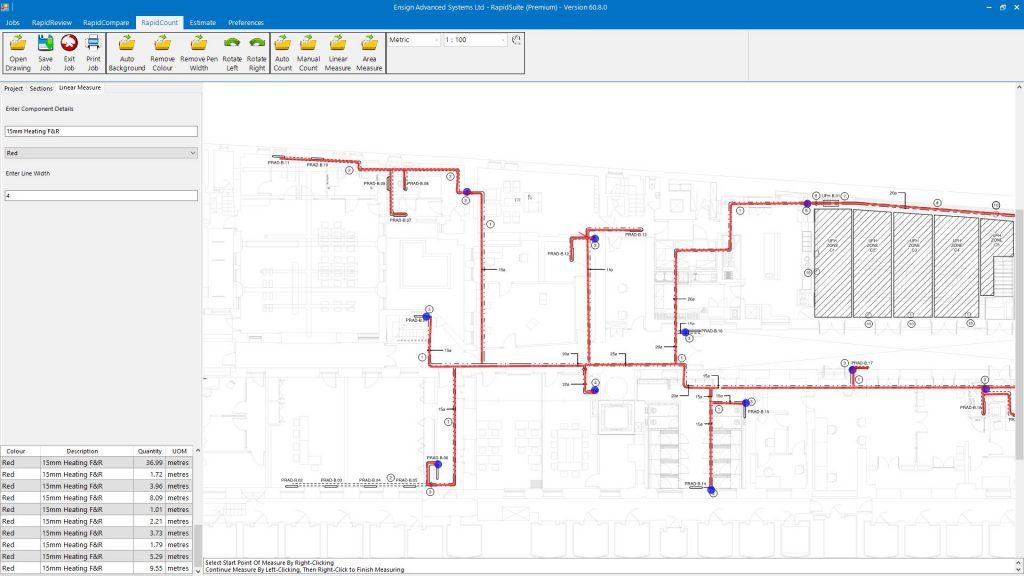 Pipe & fittings takeoff using RapidBid plumbing estimating software